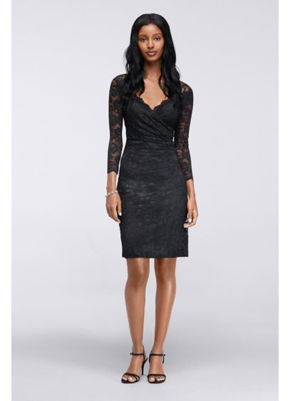 Short Sheath Long Sleeves Cocktail and Party Dress - Onyx