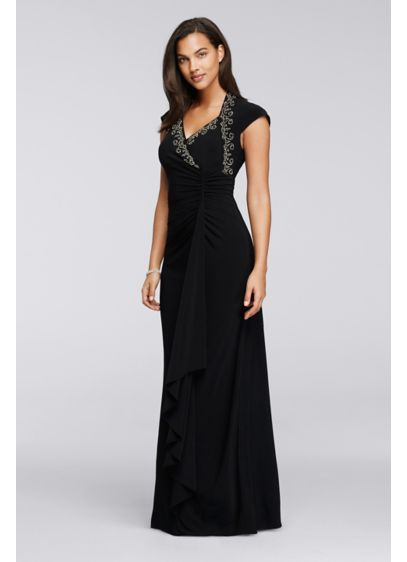 Long Sheath Cap Sleeves Formal Dresses Dress - Onyx