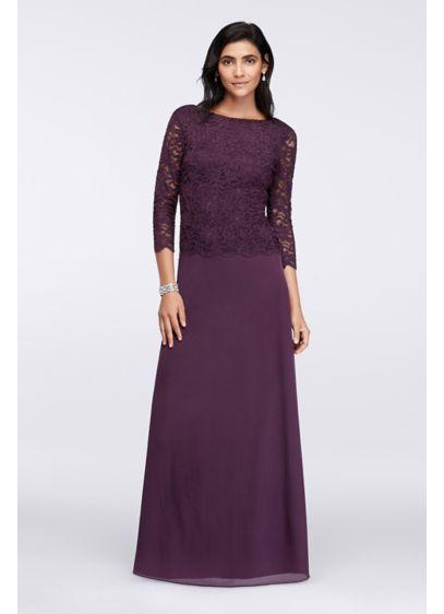 Long A-Line 3/4 Sleeves Formal Dresses Dress - Onyx
