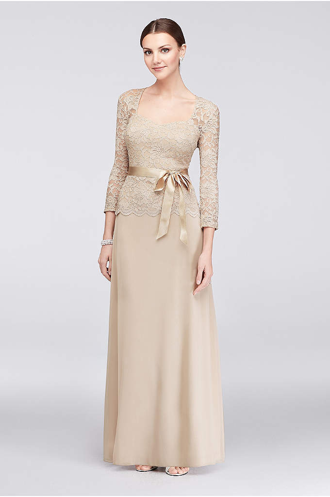Long Sleeve Lace and ChiffonSweetheart Gown - The pretty sweetheart neckline of this glitter lace