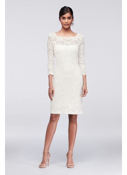 3/4-Sleeve Illusion Lace Cocktail Dress - A timeless classic, a lace cocktail dress is