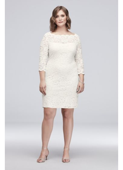 3/4 Sleeve Illusion Lace Plus Size Cocktail Dress - A timeless classic, a lace cocktail dress is