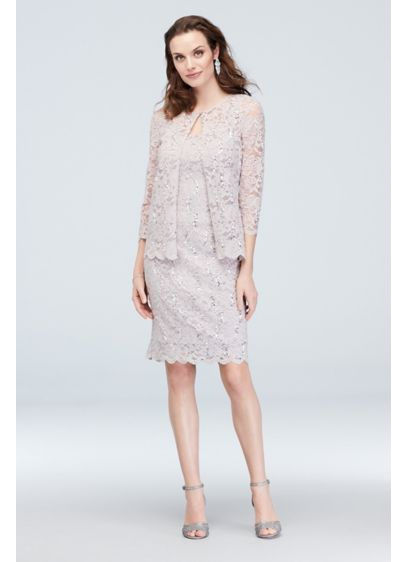 Lace Jacket and Tank Dress Set with Scallop - A matching scallop hem on both the jacket