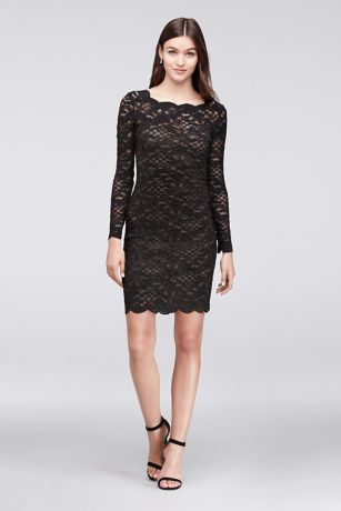 3199aedb83 Long-Sleeve Scalloped Lace Cocktail Dress