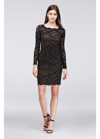 Long Sleeve Scalloped Lace Cocktail Dress Davids Bridal