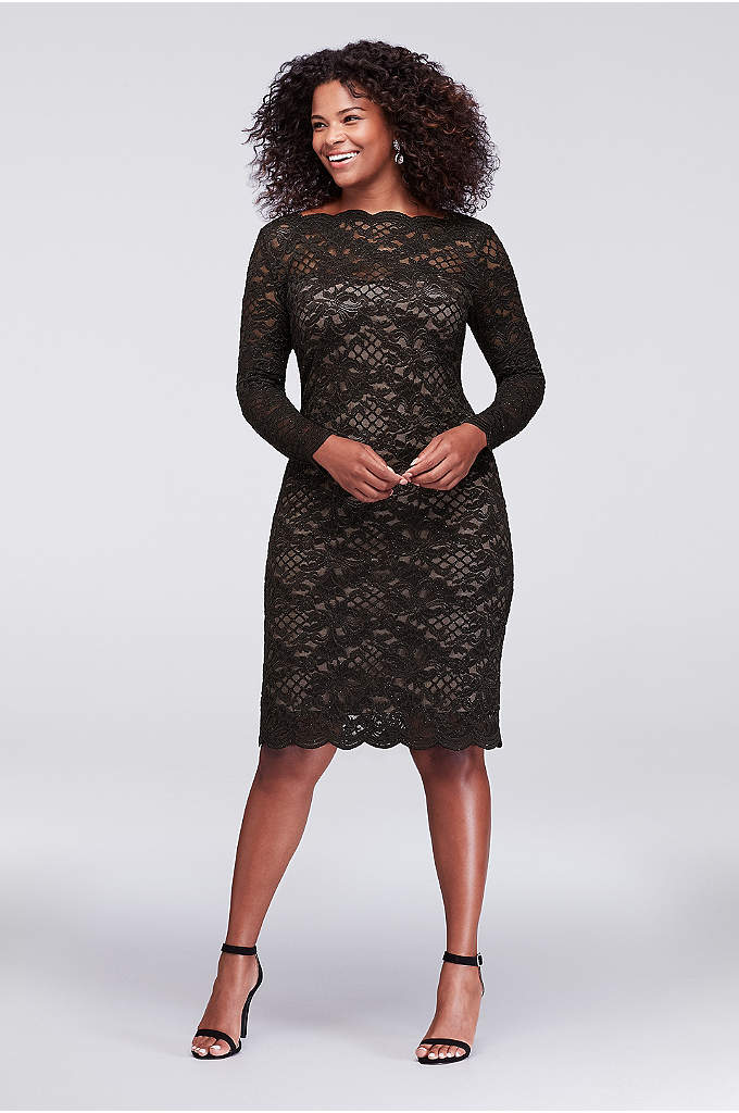 Long-Sleeve Scalloped Lace Plus Size Dress