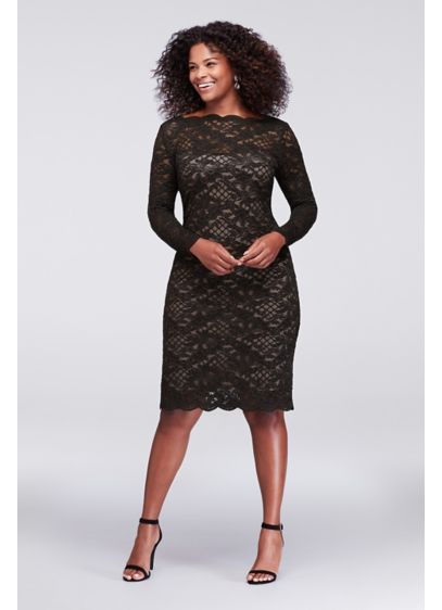 Long Sleeve Scalloped Lace Plus Size Dress Davids Bridal