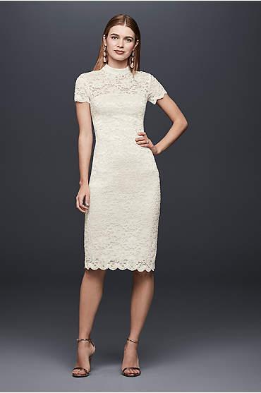 Mock-Neck Illusion Lace Short Dress