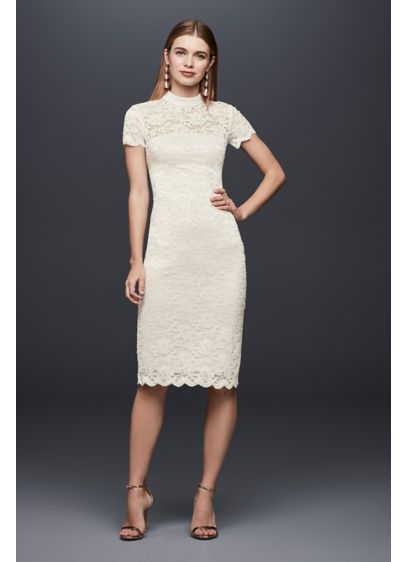 Mock-Neck Illusion Lace Short Dress - With stretch lace and an illusion lace neckline,