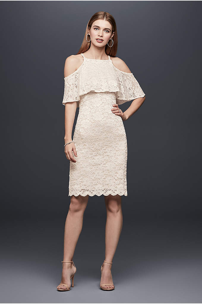 Short Two-Tone Lace Dress with Ruffle Popover - Two-toned lace creates a unique look on this