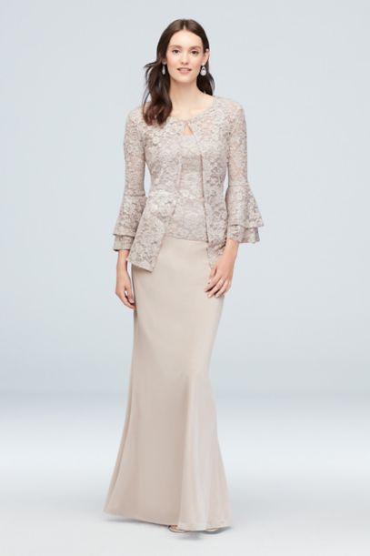 Tiered Bell Sleeve Glitter Lace Jacket Dress Davids Bridal
