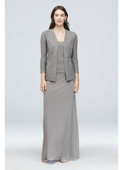 Long A-Line Jacket Cocktail and Party Dress - Onyx