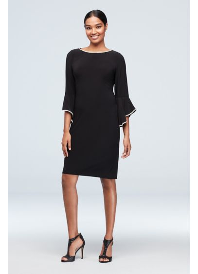 Crystal-Trimmed Bell Sleeve Jersey A-Line Dress - Featuring crystal-trimmed bell sleeves and a relaxed A-line