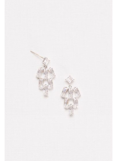 David's Bridal Grey (Cubic Zirconia Baguette Chandelier Earrings)