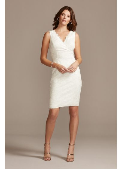 Scalloped Lace V-Neck Sheath Knee-Length Dress - With a surplice bodice and a V-neckline framed