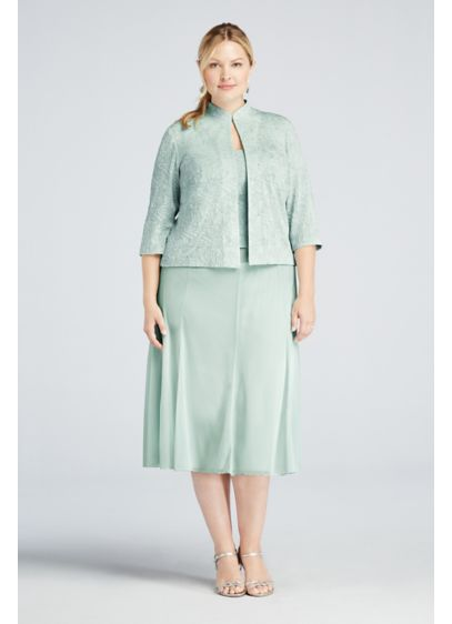 Tea Length Sheath Jacket Cocktail and Party Dress - Alex Evenings