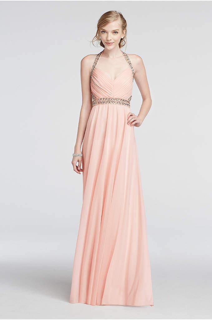 Halter Mesh Prom Dress with Beaded Waist