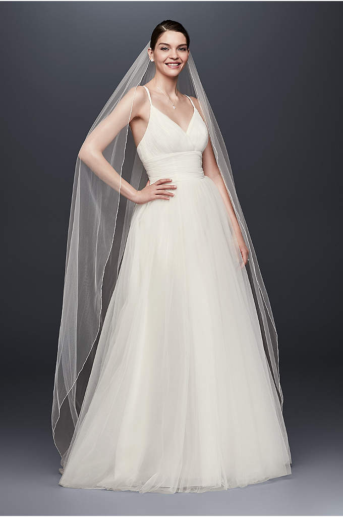 Chapel Length Veil with Pencil Edge - This long, one-tier veil is the perfect complement