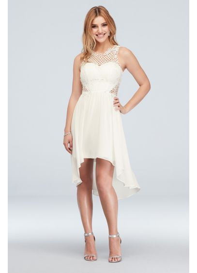 Illusion Honeycomb Lace High-Low Short Tank Dress - An illusion neckline, made from unique honeycomb-patterned lace,
