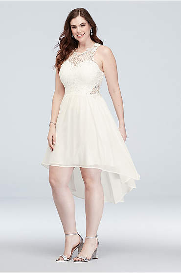 Illusion Honeycomb High-Low Plus Size Short Dress