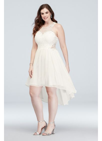 Illusion Honeycomb High-Low Plus Size Short Dress - An illusion neckline, made from unique honeycomb-patterned lace,