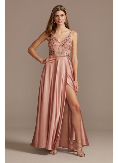 Floral Embellished Gown with Satin Split Skirt - Accented with sequins for a bit of extra