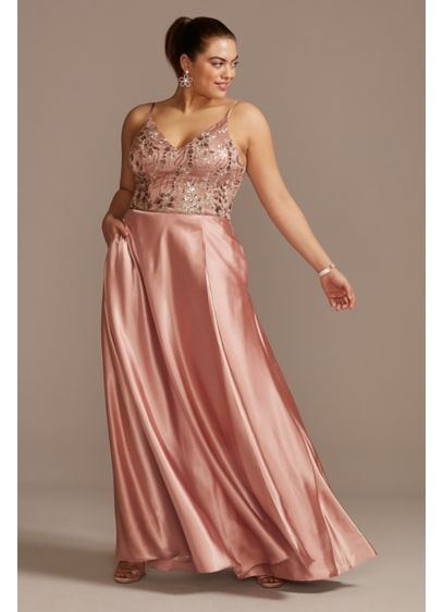 Floral Embellished Plus Size Gown with Satin Skirt - Accented with sequins for a bit of extra
