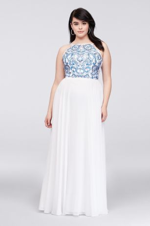 Embroidered High-Neck Chiffon Plus Size Gown | David\'s Bridal