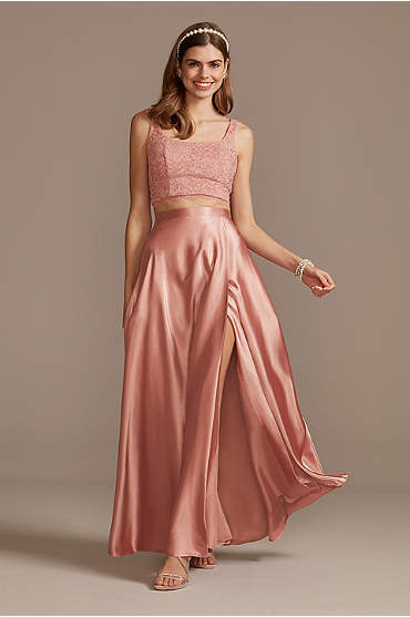 Glitter Lace Crop Top and Satin Split Skirt Set