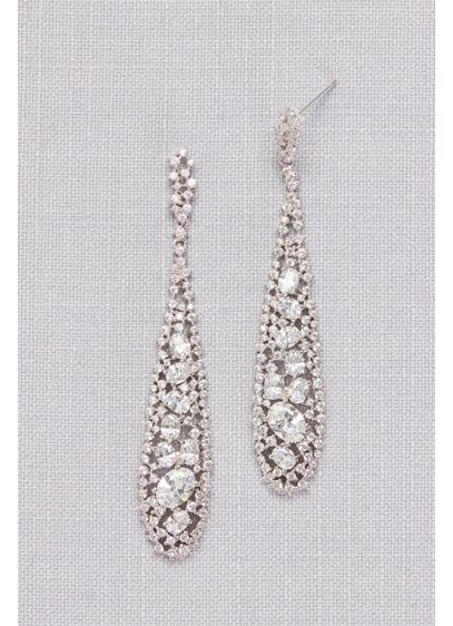 Long Crystal Pave Drop Earrings - Wedding Accessories