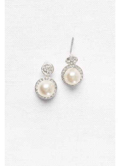 Pave Pearl Drop Earrings - Wedding Accessories