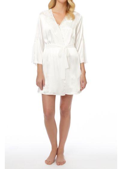 Oscar De La Renta Plus Size Lace Trim Robe - Wedding Gifts & Decorations