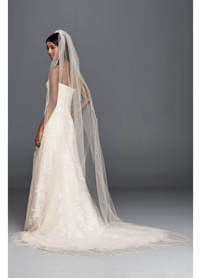 David's Bridal White (Floral Beaded Cathedral Veil wtih Scallop Edge)