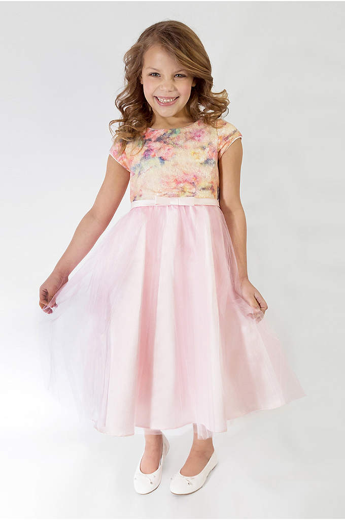 Floral Short Sleeve Tulle Flower Girl Dress - She'll match the peonies in this colorful tulle