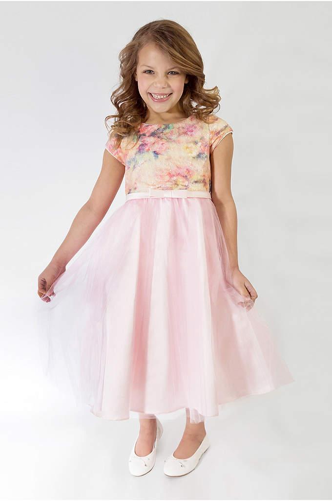 58b2f2c9f Floral Short Sleeve Tulle Flower Girl Dress