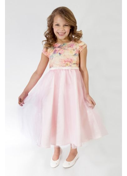 343f87ffdb50 Floral Short Sleeve Tulle Flower Girl Dress. 689UA. Short A-Line Cap  Sleeves Dress - US Angels