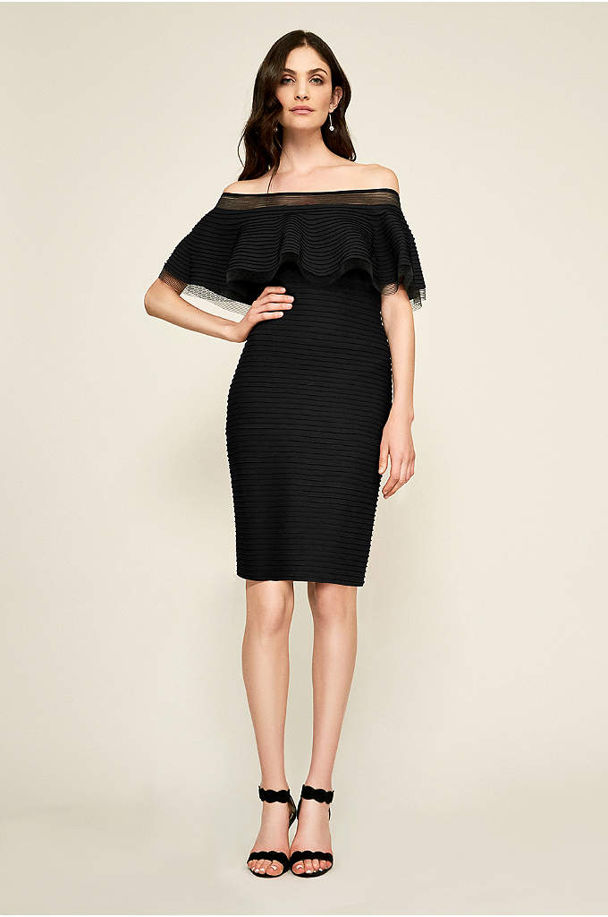 Pintucked Jersey Off-the-Shoulder Mermaid Dress