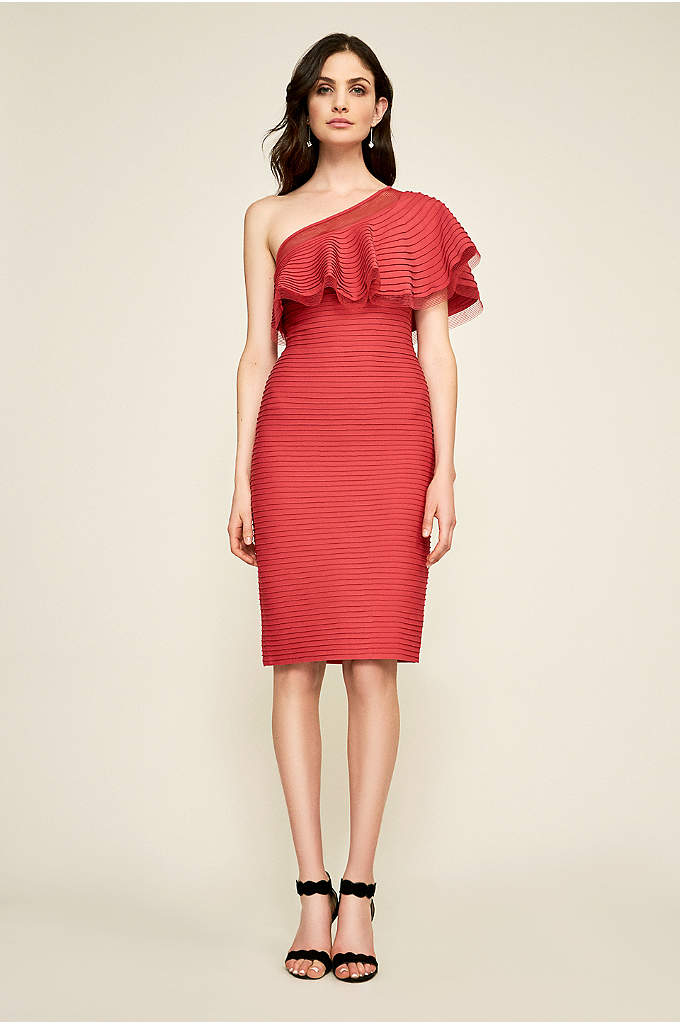 Addison One-Shoulder Pintuck Jersey Dress - Artful pintucking gives this short jersey sheath a