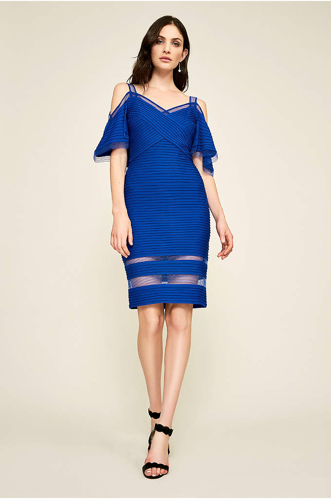 Maliah Cold Shoulder Pintuck Jersey Dress - Designed to flatter your figure, this short bodycon