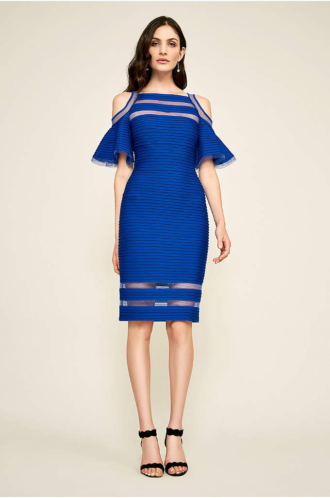 Carlyn Jersey Cold-Shoulder Sheath Dress - This short jersey pintucked sheath makes a statement