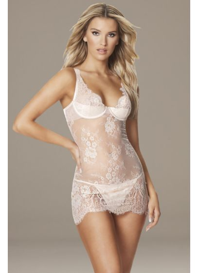 Georgia Lace Chemise with Satin Cups and G-String - If you love the allover lace look, this