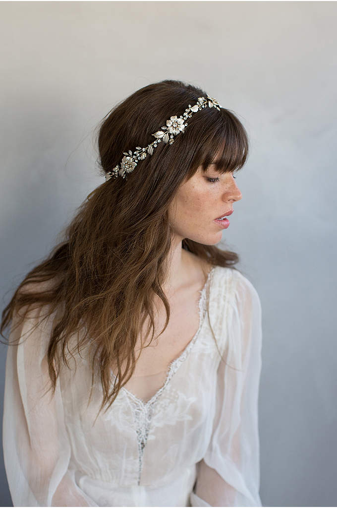 Flower Charm Centered Hair Vine - This handmade flower crown features enamel-painted blossoms with