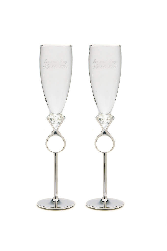 Personalized Diamond Ring Toasting Flutes - Simple yet glamorous, these Diamond Ring Toasting Flutes