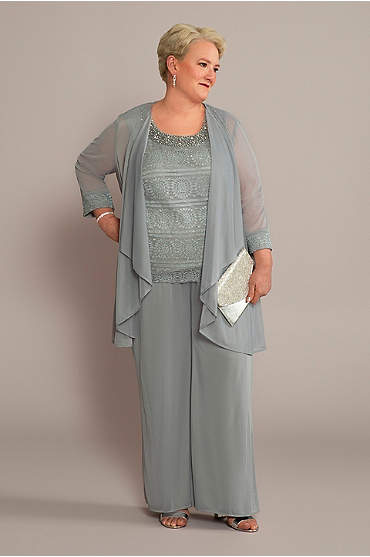 Plus 3-Piece Pantsuit with Tank and Flowy Jacket