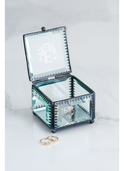 Metal-Trimmed Beveled Glass Monogram Ring Box - With its clear beveled glass panels and antique-inspired