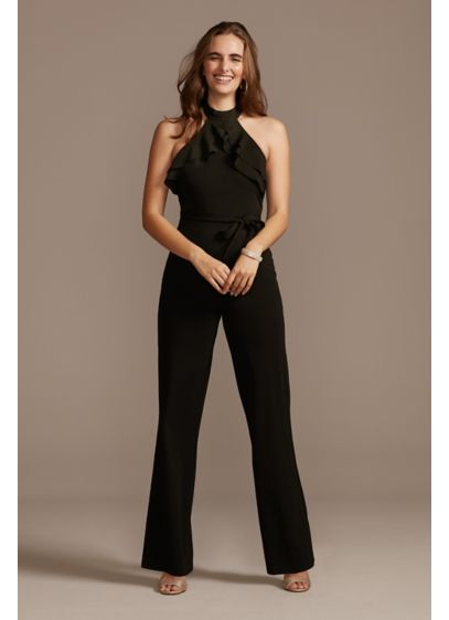 Long Jumpsuit Halter Cocktail and Party Dress - Bebe