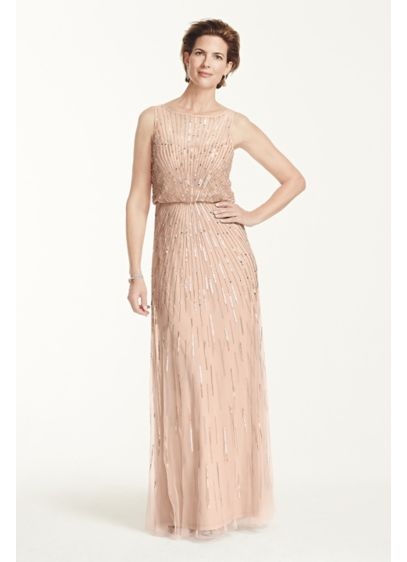 Long Pink Soft & Flowy Aidan Maddox Bridesmaid Dress