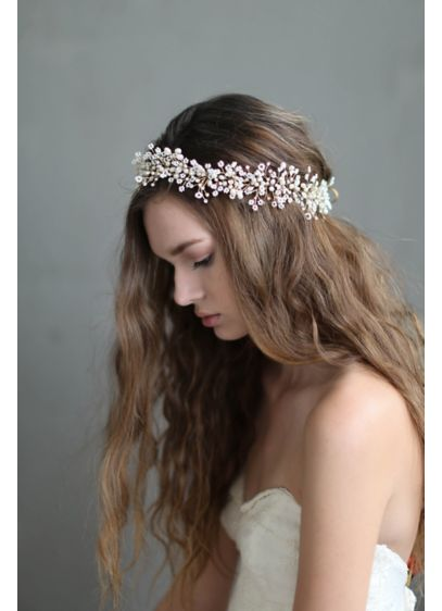 Dramatic Wispy Baby's Breath Hair Vine - Look boho-beautiful in this bridal hair vine, bursting