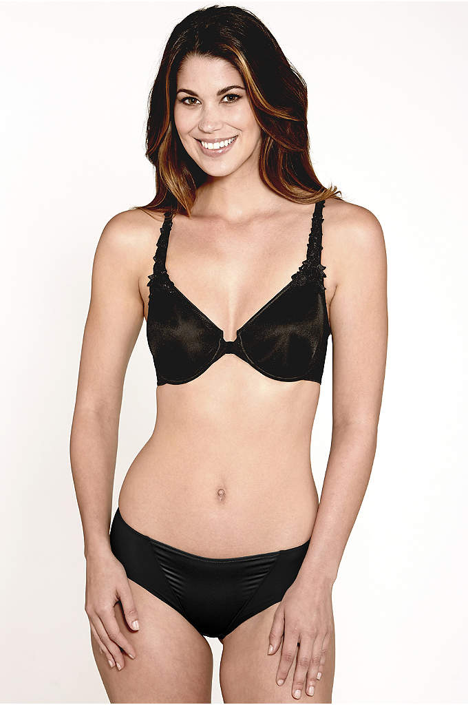 Dominique Meryl Front Closure Minimizer T-Back Bra - Featuring floral details on the straps, this underwire