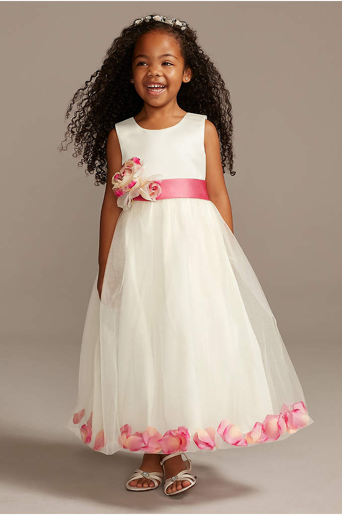 Tulle Skirt Flower Girl Dress with Colored Petals
